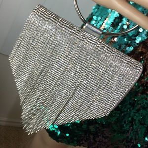 NEW! GORGEOUS Evening Purse/Silver Handle or Chain
